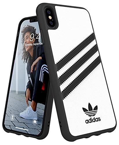 adidas Funda diseñada para iPhone XS MAX, Fundas a Prueba de caídas, Bordes elevados, Funda Original, Color Blanco y Negro