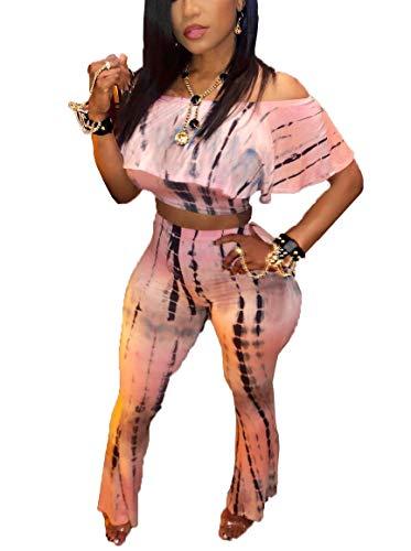 LKOUS Women 2 Piece Outfits Clubwear Tie-dye Ruffles Off Shoulder Short Sleeve Crop Top High Waisted Long Pants Set Suit