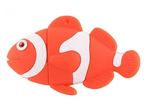 Pesce 32 GB - Fish - Acquario e Mare Chiavetta Pendrive - Memoria Archiviazione dei Dati - USB Flash Pen Drive Memory Stick - Arancione e Bianco