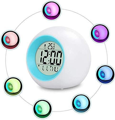 Despertador infantil con LED, 7 colores cambiantes, 8 tonos de alarma, reloj digital de 12/24 horas, luz despertador con control de una sola pasada, despertador con luz con fecha y temperatura