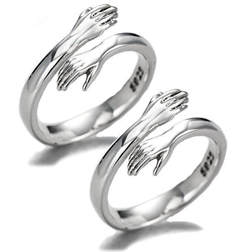 Anillo de abrazo de pareja, plata de ley 925, anillo enorme para parejas, mujeres y niñas, 2 unidades