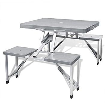 vidaXL Jeu de Table de Camping Pliable avec 4 tabourets en Aluminium Gris Clair