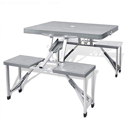 VidaXL Picknicktafel koffertafel camping klaptafel 4 aluminium krukken zitgroep inklapbaar