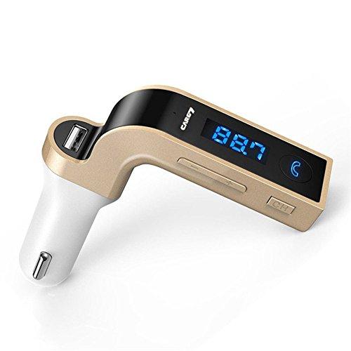 OWIKAR Transmetteur FM Bluetooth, G7 sans fil mains libres de voiture Bluetooth FM SD Transmetteur Modulateur Kit de voiture Lecteur MP3 avec ports de charge USB (or)