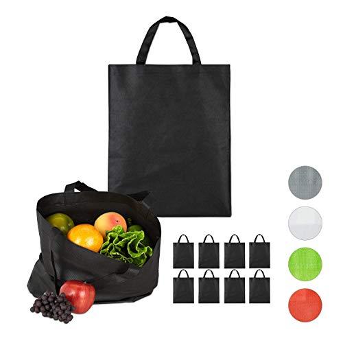 Relaxdays Stoffbeutel 10er Set, unbedruckt, zum Einkaufen, kurze Henkel, große Einkaufsbeutel H x B 49,5 x 40cm, schwarz