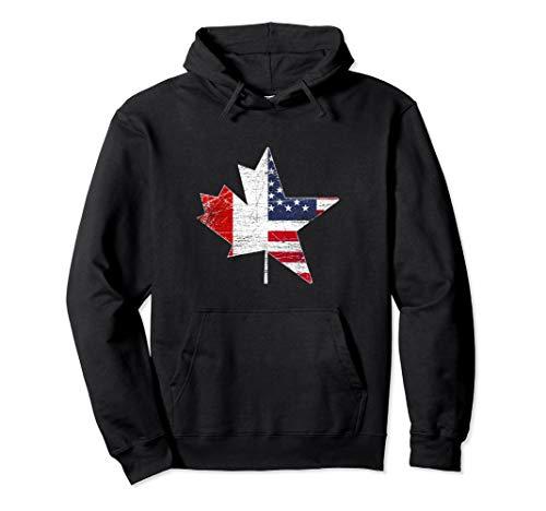 Maple Leaf USA American Flag Canada Pullover Hoodie