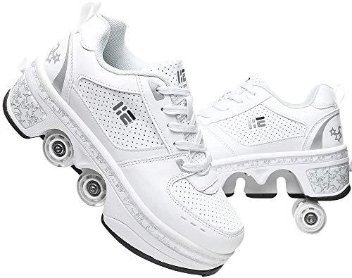 FLY FLU Schuhe Mit Rollen Skateboardschuhe,Inline-Skate,2-in-1-Mehrzweckschuhe,Verstellbare Quad-Rollschuh-Stiefel-Männliche Und Weibliche Paare 35-43EU,White-38