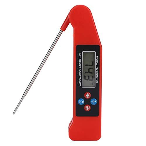Termómetro digital para alimentos de lectura instantánea con función de transmisión de voz, adecuado para cocinar en la cocina, parrilla, barbacoa, horno ahumador, sonda plegable y diseño de retroilum