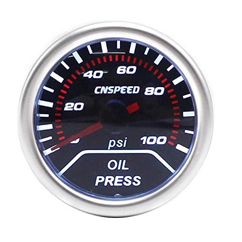 KEKEYANG Medidor Panel de Instrumentos 2' (52mm) Lente Humo de Aceite Indicador de presión 0-100 PSI Viendo Medidor del tacómetro/del Coche/Racing Metro YC101230 for Motores, Barcos, automóviles m