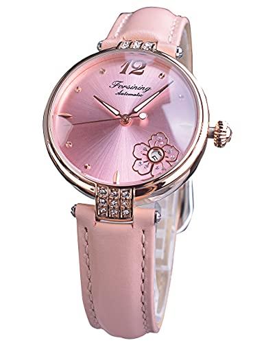 Forsining Reloj de pulsera analógico para mujer con fecha analógica, elegante, diseño de flores y diamantes de color rosa