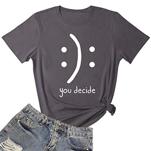 BLACKMYTH Women's Cute Graphic T Shirts Funny Tops Casual Tees Dark Grey Medium