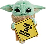 """Star Wars Grogu Plush """"Child on Board"""" Sign +Toy, 8-in Character from The Mandalorian, Soft, Collectible Cuddle Toy & Automobile Signage"""