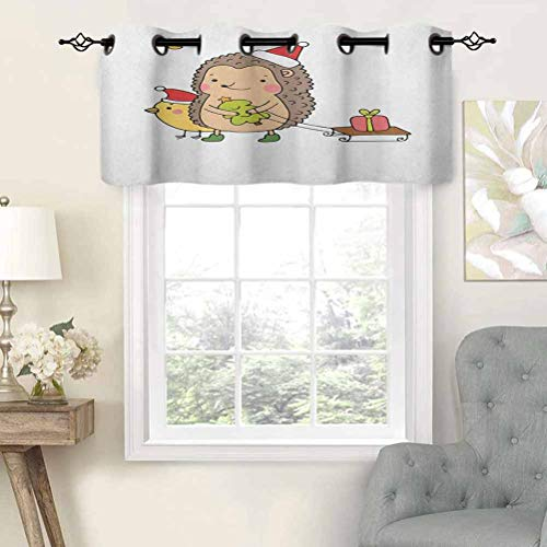 Grommet Top Curtain Valance Blackout Cartoon Hedgehog with Bird and a Christmas Tree Pulling Sled Holiday Themed Image, Set of 2, 54'x36' Window Treatment for Living Room