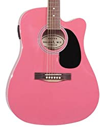 Best Acoustic Electric Guitar under 200 US Dollars - Jameson Guitars Pink Fullsize Thinline Acoustic Guitar