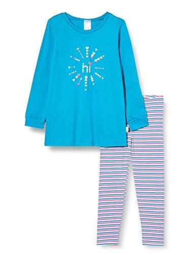 Schiesser Mädchen Schlafanzug Langarm Pyjamaset, Petrol, 128