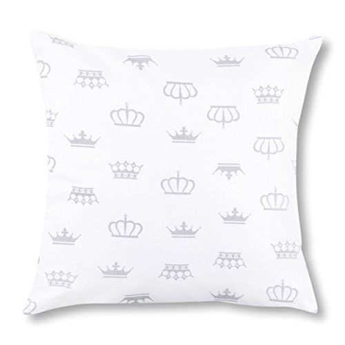 Amilian® Dekokissen Kissenbezug Kissen 80cm x 80cm Krone Weiß