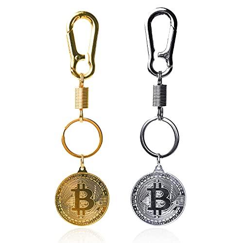 2 llaveros de moneda Bitcoin de oro y plata BTC para monedas de criptomoneda