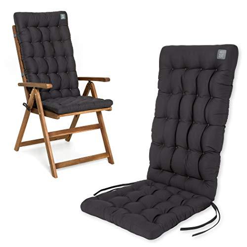 HAVE A SEAT Luxury   Gartenstuhlauflagen - Bequeme Hochlehner Polster Auflage, waschbar bei 95°C, Trockner geeignet, Sitzauflage für Gartenstuhl (1 Stück - 120x48x8 cm, Grau-Anthrazit)