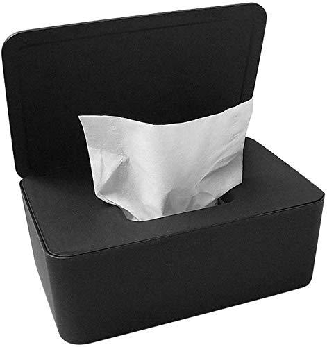HILINE Feuchttücher-Spenderbox, trocken und nass Seidenpapier-Halter mit Abdeckung, staubdicht, für Heimbüro, schwarz Schwarz