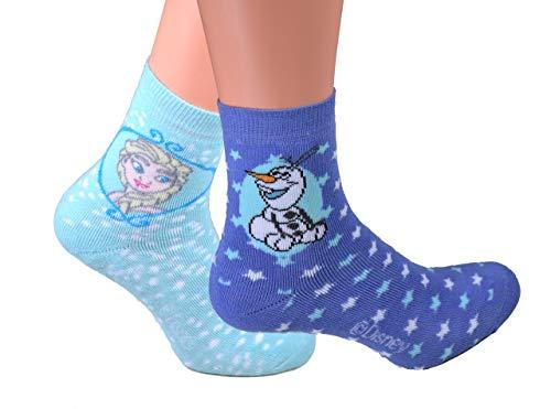 Best Deal Market 2er Pack Mädchen Disney ABS Socken Gr. 35/38 Eiskönigin Olaf Eis Frost Schnee Disney Winter stoppersocken kinder abs socken anna sachen frozen socken