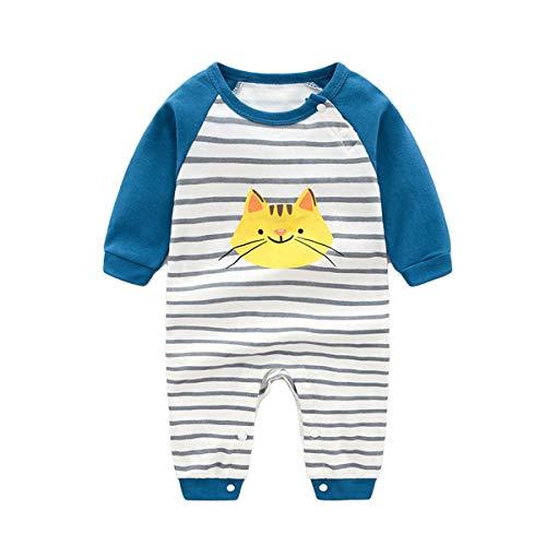 Baby Bodys Langarm Strampler Jumpsuit Baumwolle Schlafanzug Onesies Overall Neugeborene Onesies Babykleidung Geschenk Jungen Mädchen 0-6 Monate,Gestreifte Katze