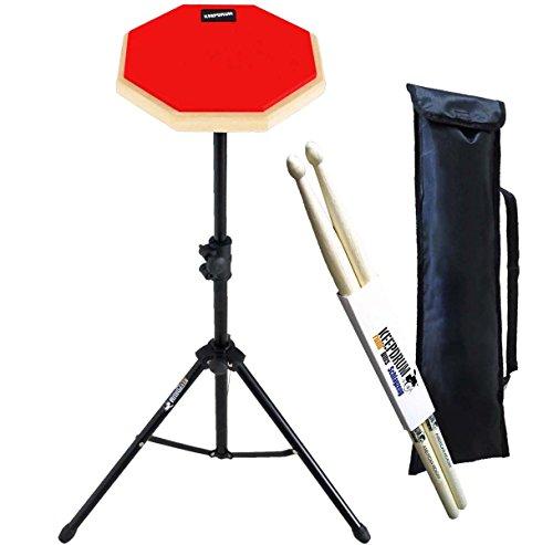 keepdrum DP-RD SET Practice Pad Rot mit Stativ und Tasche + Drumsticks 1 Paar