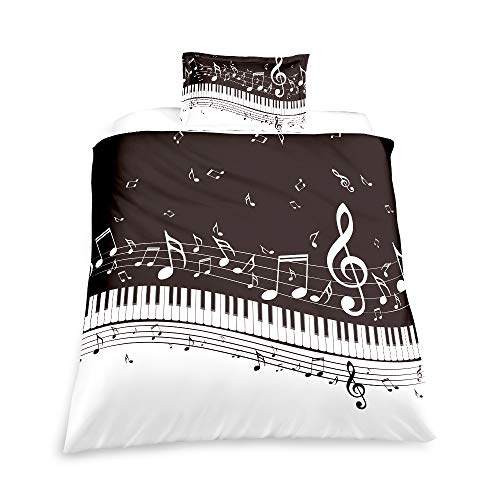 Suncloris, Melody Music Duvet Cover Set, Black Piano Keyboard Music Note Clef Staff Home Textiles Kids Bedding Set. Included: 1 Duvet Cover, 1 Pillowcase(no Comforter Inside) (Twin)