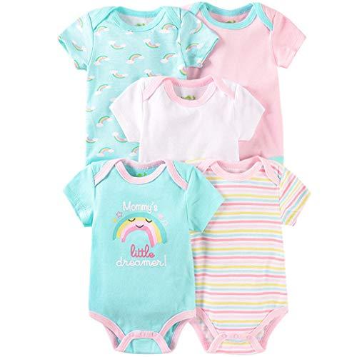 Pack de 5 Bebé Body Mono de Manga Corta Mameluco Algodón Peleles Comodo Pijama Regalo de Recien Nacido, 0-3 Meses