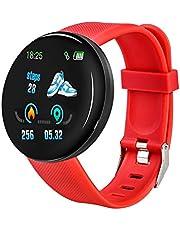 Bluetooth Smart Horloge Mannen Vrouwen Bloeddruk Smartwatch Sport Tracker Stappenteller 116 Plus Smart Horloges voor Android en IOS (Kleur: Rood)