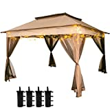 Happybuy Outdoor Canopy Gazebo 11x11ft with Four Sandbags - Intubated Canopy with Netting - Patio Gazebo Brown for Backyard, Outdoor, Patio and Lawn