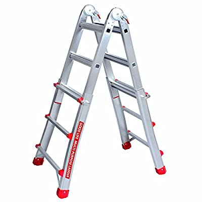 Good Life EN131 5X4 Step 17 Foot Telescoping Multi-Ladder Aluminum Extension Adjustable & Folding Multi-Use Multi-Position Ladder 300-Pound for Home HMI477