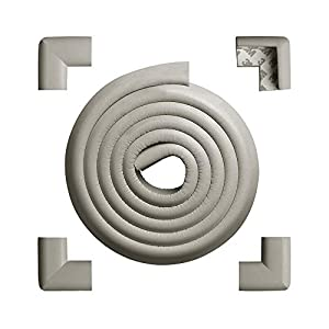 Tritina Corner Guards and Edge Bumpers – 2.2m / 7ft [ 6.5ft Edge Cushion + 4 Corner Cushion] Premium Childproofing Protector, Child Safety, Home Safety Mamami (Gray)