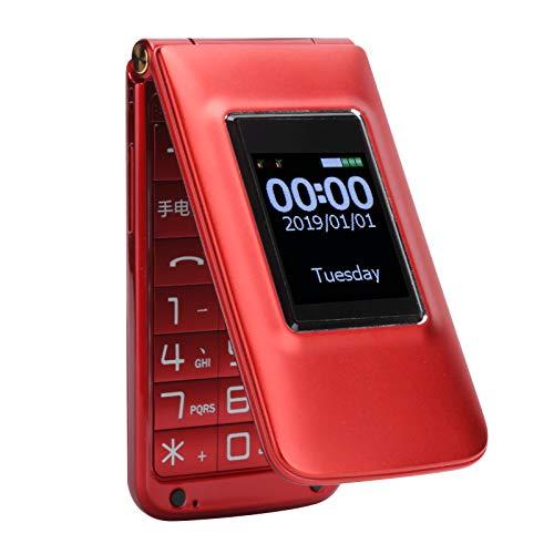 Teléfono móvil para Personas Mayores, Tarjeta Dual Teléfono móvil con Doble Modo de Espera 32 + 32 MB Botones Grandes Teléfono con Funciones para Personas (Enchufe de la UE)