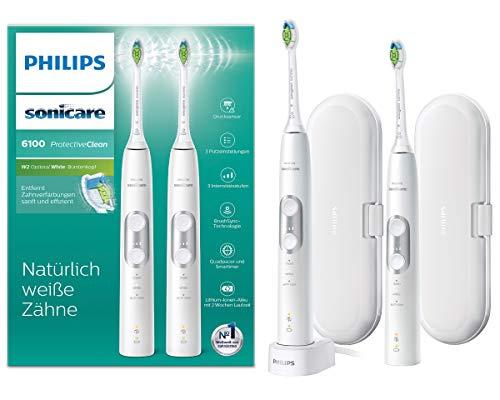 Philips Sonicare HX6877/34 ProtectiveClean 6100 Elektrische Zahnbürste mit Schalltechnologie, Doppelpack, weiß
