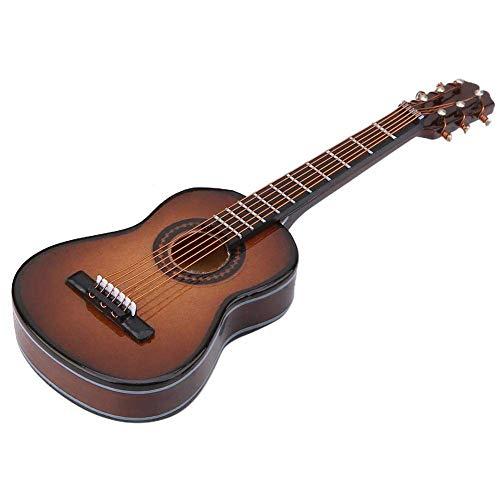 Decoración de modelo de guitarra de madera en miniatura, mini adornos musicales artesanía decoración de oficina en casa exhibición de regalo para niños amigos(#03 Brown, 10*3.5*1cm/3.9*1.4*0.4