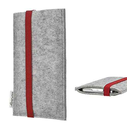 flat.design Handy Hülle Coimbra kompatibel mit BlackBerry KEY2 Red Edition individualisierbare Handytasche Filz Tasche rot grau