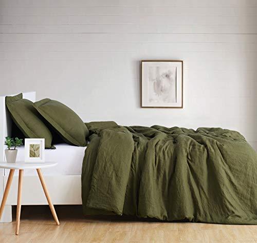 Brooklyn Loom Flax Linen Duvet Set, Queen, Olive Green