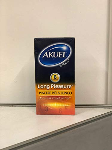 Akuel Long Pleasure, preservativi ritardanti con benzocaina, 6 pezzi