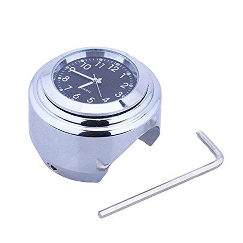 Starmood 2,2 cm 2,54 cm Motorrad Fahrrad Chrom Wasserdicht Zifferblatt Lenker Uhr Glow Watch Black Shell & Silver Base