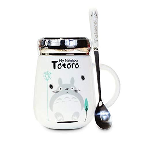 Becher-Geschenk kreative keramische Karikatur Mein Nachbar Totoro Kaffeetasse Tasse Milch-Schale mit Spiegelabdeckung Großvolumige Weibliche nette Keramik Studenten Cup Mit Löffel 400 ml Getränk Cup j
