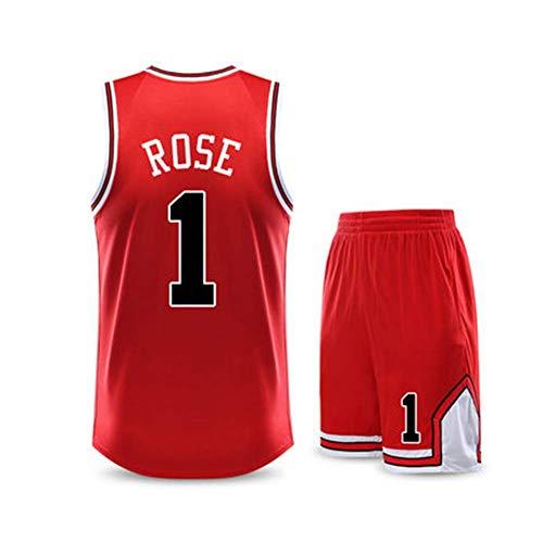 CCKWX Maglie da Basket da Uomo -Chicago Bulls # 1 Derrick Rose Jersey Set, Pantaloncini T-Shirt Unisex Senza Maniche in Tessuto Traspirante Fresco,Rosso,XL:170cm/50~60kg