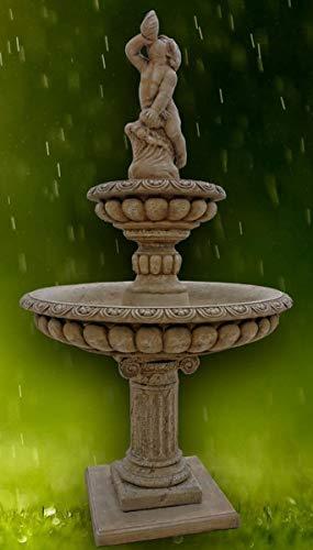 Casa Padrino Barock Gartenbrunnen Junge mit Muschel Dunkelgrau Ø 114 x H. 220 cm - 2 Stufiger Springbrunnen - Gartendeko Brunnen