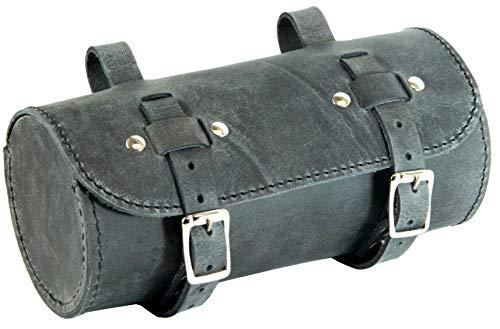 HERTE Leder satteltasche Lenkertasche Fahrrad echt runde handgemacht Jahrgang Schwarz Geschenk Werkzeugtasche