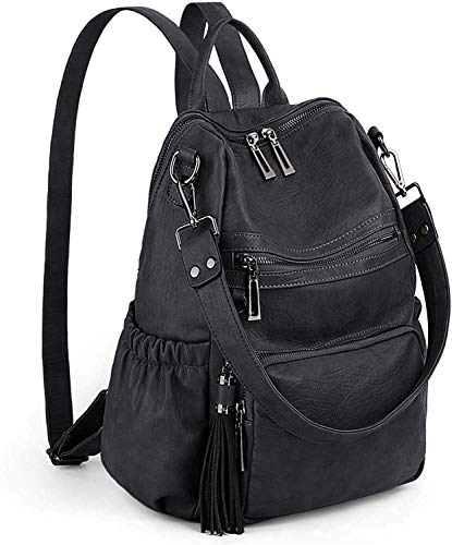 HIGH QUALITY - Soft synthetic washed leather with heavy duty zipper hardware. 1 top handle, 1 shoulder strap and 2 adjustable back straps. WELL DESIGN - Double Zipper Design is convenient for opening in two directions. Detailed Double streamlined sti...