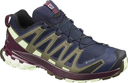 Salomon Women's XA PRO 3D v8 GTX W Trail Running, Navy Blazer/Winetasting/Patina Green, 8