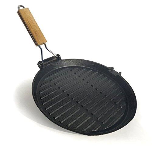 osoltus Grillpfanne Steakpfanne Bratpfanne aus Gusseisen rund 27cm