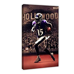 Sports Poster Football Player Marquise Brown Baltimore Ravens Canvas Poster Wall Art Decor Print Picture Paintings for Living Room Bedroom Decoration 16×24inch(40×60cm) Frame-style1