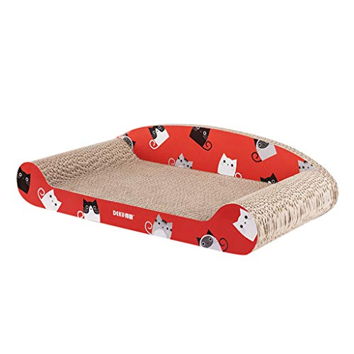 NA. Nangjiang Kratzbrett für Katzen, aus Karton, Bett, Sofa, Couch, Wellpappe, Kätzchen, Lounge, strapazierfähig, bequem, Kopfstütze, Schlafzaun rot