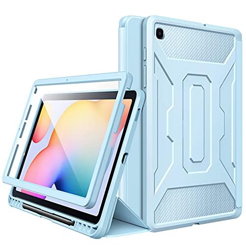 MoKo Funda Compatible con Galaxy Tab S6 Lite 10.4 2020 SM-P610/P615, [Protector de Pantalla Incorporado] Cubierta Anti-Rasguños con Auto Estela/Sueño y Soporte de Pencil - Azul Claro
