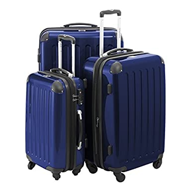 HAUPTSTADTKOFFER Luggages Sets Glossy Suitcase Sets Hardside Spinner Trolley Expandable (20', 24' & 28') TSA (Darkblue)